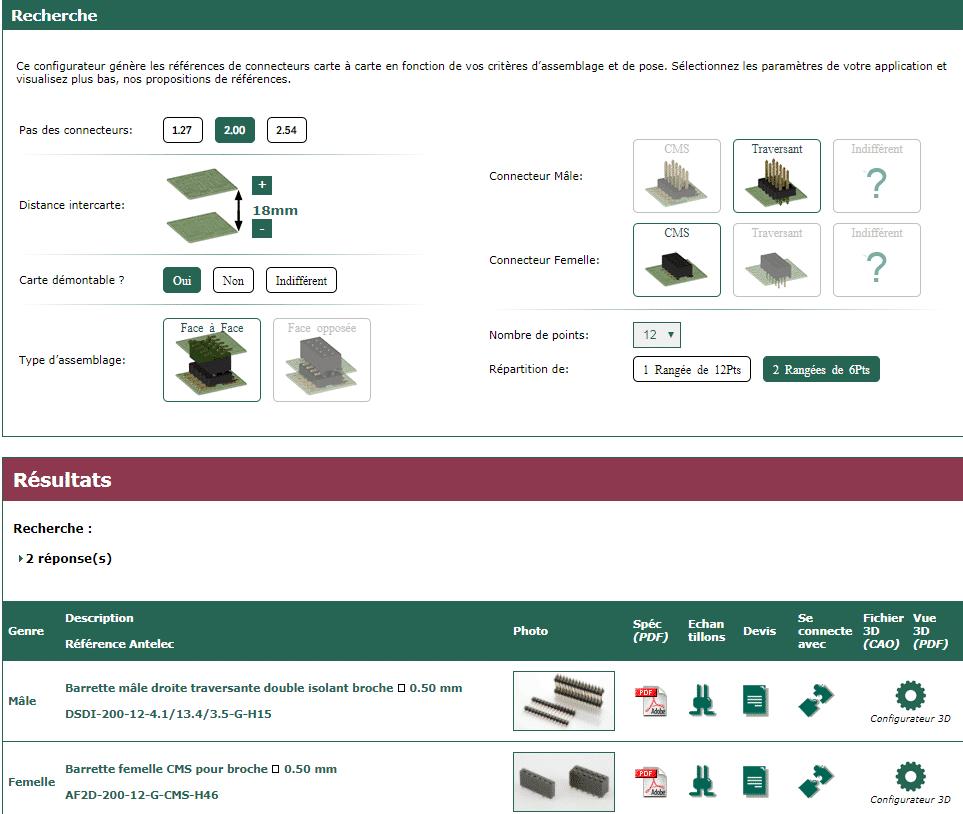 Capture d'acran du configurateur de connecteurs antelec