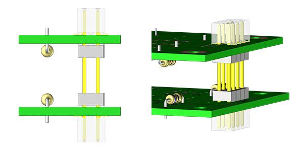 visuel 3d qui illustre deux cartes électroniques assemblées en vue de profil et vue de face